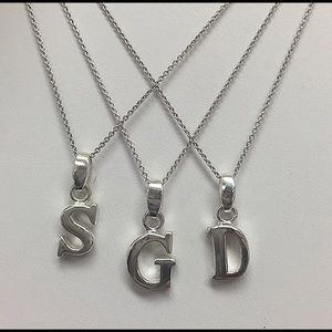 "ZokyDoky Jewelry - Sterling Silver Thick 1/2"" Initial Letter Necklace"